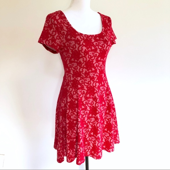 Wet Seal Lace Skater Dress Short Sleeve Red Size S